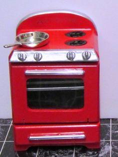 1950's stove, red | ELF Miniatures