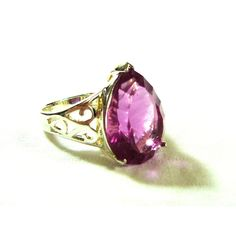 Quartz Statement Ring Rose Color Sterling Silver .925 Faceted Gem Pear... ($25) ❤ liked on Polyvore featuring jewelry, rings, sterling silver stone rings, cocktail rings, gem rings, sterling silver gemstone rings and gem jewelry