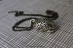 Gothic anatomical brain necklace