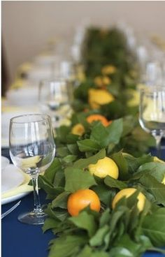 fruit and greenery table runner