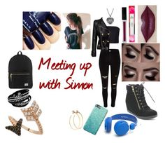 """""""Sidemen Outfit Imagines #5 Meeting Simon"""" by supimnotcool ❤ liked on Polyvore featuring Monique Lhuillier, Balmain, Top Moda, Herschel Supply Co., Jill Platner and Bee Goddess"""