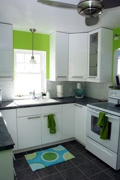 See contract of cabinets, countertops, green paint