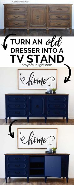 How to DIY an old dresser into a tv stand and paint it navy blue with a deep ant. - How to DIY an old dresser into a tv stand and paint it navy blue with a deep antiqued glazed finish - Dresser Tv Stand, Dresser With Tv, Blue Dresser, Turn A Dresser Into A Tv Stand, Blue Painted Furniture, Unique Furniture, Repurposed Furniture, Furniture Ideas, Diy Furniture Tv Stand
