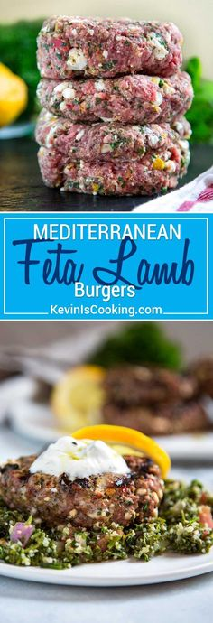 Fresh ground lamb mixed with feta cheese, fresh herbs, lemon and peppers make these Mediterranean Feta Lamb Sliders super moist and flavorful. burger recipe Grilled Mediterranean Feta Lamb Burgers - Kevin Is Cooking Mediterranean Diet Recipes, Mediterranean Dishes, Lamb Burger Recipes, Lamb Mince Recipes, Feta Burger Recipe, Lamb Gyro Recipe, Ground Lamb Recipes, Lamb Burgers, Gourmet