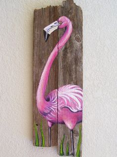 Flamingo Hand Painted on Wood Reclaimed Fence by roseartworks, $75.00