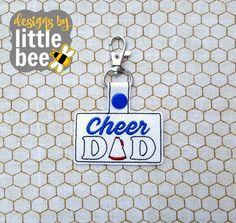 cheer DAD snap tab design keychain key fob 4x4 friendly! sports sport gift idea machine embroidery design Instant Download 4x4