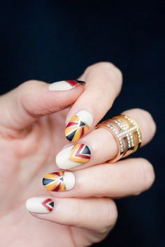 White, Yellow, Red and Black Nails via