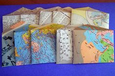 Random recast: Map pages day 2 by Brie Dyas. Upcycle your old maps into worldly envelopes. Old Book Crafts, Map Crafts, Diy And Crafts, Diy Furniture Renovation, Globe Crafts, Map Globe, Old Maps, Travel Scrapbook, Mail Art