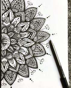 Sketched using graphite pencil and black ink fine liner. Tattoo design - mandala design Decorative framed Print soon available for sale. Mandala T Shirt, Mandala Doodle, Mandala Art Lesson, Mandala Artwork, Mandala Tattoo Design, Tattoo Designs, Designs Mehndi, Doodle Art Drawing, Mandala Drawing