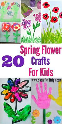 20 Spring Flower Crafts for Kids!  From handprint crafts to waterbottle flowers to felt made flowers, there is something for everyone!  Flower crafts are also perfect for Mother's Day or Preschool Parties or Playdates.