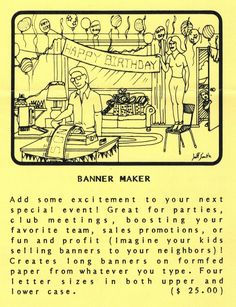 Flyer ad for Banner Maker program (1982). Birthday Banner Maker, Sale Promotion, Telephone, Special Events, Connection, Software, Ads, Phone