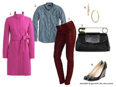 Fall Date Night Outfit - Articles of Society Coated Oxblood Skinny Jeans, J. Crew Chambray Button Down & J Crew Factory Pink Coat.