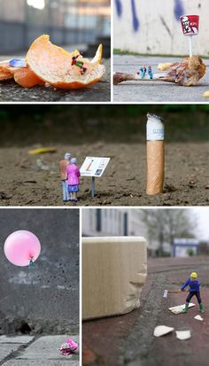 Slinkachu is a UK-based artist who creates tiny scenes on city streets that are both humorous and compelling. He photographs each scene and then leaves it to be discovered. by vladtodd Miniature Photography, Art Photography, Street Art, Modernisme, City Scene, Wow Art, Installation Art, Art Installations, People Art