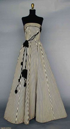 ~BLACK & WHITE BALLGOWN, 1950s~ Silk faille in black & white stripes, strapless, princess seams, full skirt, black velvet & chiffon trailing rose trim. Front