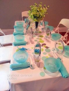 Hostess with the Mostess® - A Fresh Lime Green and Aqua Spa Party by Glamour Avenue Parties.