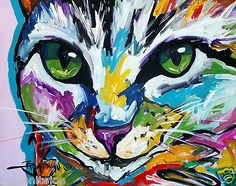 ABSTRACT-ORIGINAL-ART-COLORFUL-CANVAS-PAINTInG-16X20-CaT-MARC-BROaDwAY