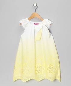 White & Yellow Angel-Sleeve Dress - Toddler & Girls | Daily deals for moms, babies and kids