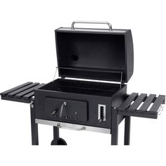Charcoal, BBQ trolley Electric grill tepro Garten Toronto XXL Thermometer in lid Black, Stainless steel