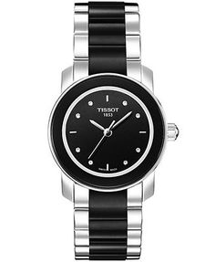 Tissot Watch, Women's Swiss Cera Stainless Steel and Black Ceramic Bracelet T0642102205600