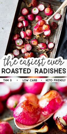 these Oven Roasted Radishes as an easy and healthy side dish for dinner tonight. Such a simple recipe, but so good! This recipe is Trim Healthy Mama friendly (THM S), low carb, gluten free (if using certified gluten free products) and Keto friendly. Side Recipes, Low Carb Recipes, Healthy Recipes, Lunch Recipes, Dinner Recipes, Healthy Sides, Healthy Side Dishes, Roasted Radishes, Radish Recipes