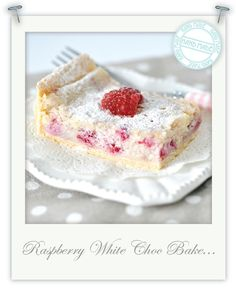 Torie Jayne: Gluten free raspberry & white chocolate tray bake