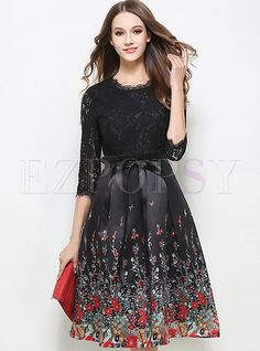 2a467a4ed0 Shop for high quality Party Patch Bowknot Lace Floral Peplum Skater Dress  online at cheap prices