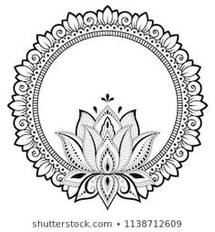 Circular pattern in form of mandala for Henna, Mehndi, tattoo, decoration. Decorative frame with lotus flower ornament in ethnic oriental style. Coloring book page. Mandalas Painting, Mandalas Drawing, Madhubani Painting, Mandala Coloring Pages, Coloring Book, Henna Mehndi, Henna Art, Mehndi Tattoo, Hamsa Tattoo