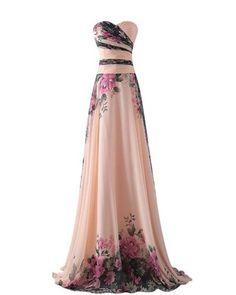abito da cerimonia donna in chiffon damigella vestito lungo elegante floreale