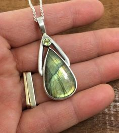 Labradorite and Peridot Sterling Silver by JenLawlerDesigns: