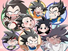 Bardock, Goku, Raditz, Vegeta, Gine, Tarble, Turles, and Cabba
