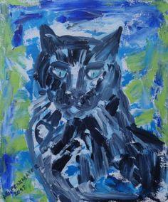"Saatchi Art Artist Agnieszka Praxmayer; Painting, ""Black cat - Poupou"" #art"
