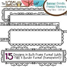 Banner/Header/Rectangular Doodle Frames & Borders Set: Graphics for Teachers Banner Doodle, School Fonts, Paisley Color, Boarders And Frames, Classroom Clipart, Doodle Frames, Doodle Borders, School Tool, Writing Art