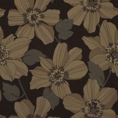 Floral upholstery fabric - Caribbean Espresso by Charles Parsons Interiors  #fabric #upholstery #chocolate #brown #floral #charlesparsonsinteriors