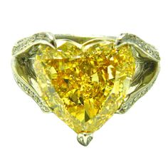 10.02 Carat Natural Fancy Color Heart Shape Diamond Ring