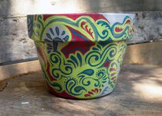 Your place to buy and sell all things handmade Ceramic Flower Pots, Painted Flower Pots, Painted Pots, Flower Pot Design, Diy Flower, Garden Pots, Garden Ideas, Do It Yourself Projects, Hand Painted Ceramics