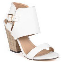 Brinley Co. Womens Stacked Heel Open Toe Pump, Women's, Size: 7.5, White