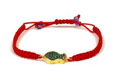 23.75 karat yellow gold red macreme bracelet with fish in pave green tsavorites.  Available for purchase online at www.leonardojewelers.com and in our Red Bank, NJ and Elizabeth, NJ stores.