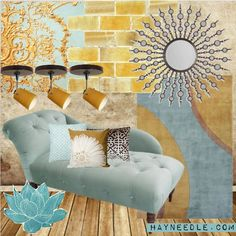 #teal #mustard #gold    Liore Manne Antique Medallion Gold Pillow Set #TRN1038  Kimani Decorative Starburst with Accent Mirror Inlays #UMC2418  Madison Tufted Chaise Lounge #SKY235