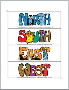 Classroom Freebies: Cardinal Direction Signs Freebie to label your classroom