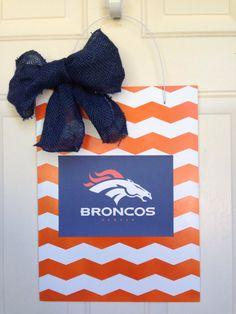 Denver Broncos football door hanger by Toobes on Etsy