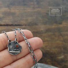 Raw necklace raw silver necklace karneol sterling silver