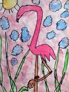 flamingo kids art - love it! I have flamingo pictures my nieces made me years ago, i should dig them out and frame them.