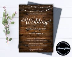 Country Wedding Invitation Template - Southern Wedding Invitations - Barn Wedding invitation - Rustic Wedding Set - String lights - PDF by MintedMemories on Etsy