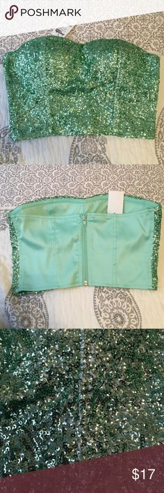 Turquoise sequined bustier top NWT Perfect for going out! New with tags. Zippered back and has padding in the bra area. Can be paired with a skirt, jeans, shorts! :) Charlotte Russe Tops Crop Tops