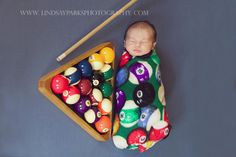 Billiard baby photography by Lindsay Parks