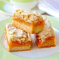 Apricot Coconut Meringue Bars have a soft cookie base, covered with sweet apricot jam & a layer of coconut meringue. Substitute any flavor jam if you like.