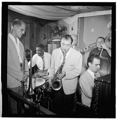 Portrait of Bill Harris, Denzil Best, Flip Phillips, Billy Bauer, Lennie Tristano, and Chubby Jackson, Pied Piper, New York, Sept. 1947
