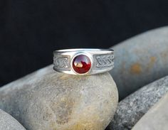 Celtic Men's Ring Sterling Silver Blood Red by FifthRealmPress