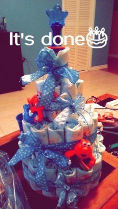 Baby Boy diaper cake.  Kelsey's Craft Corner