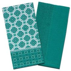 Turquoise Terry Waffle Weave Kitchen Towels 14